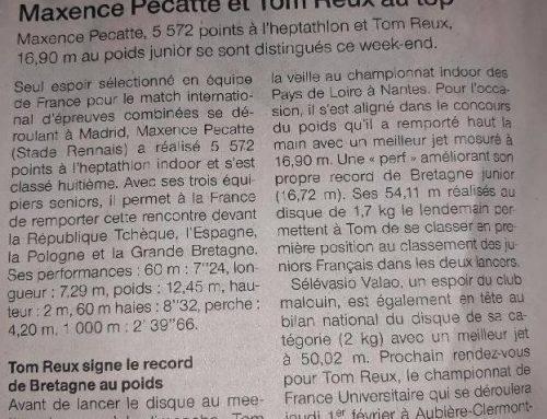 Article Ouest France Tom Reux et Sélévasio Valao  30 Janvier 2018