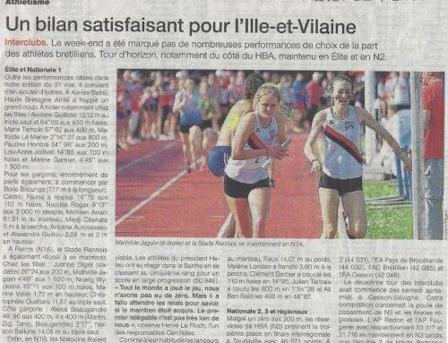 Article Interclubs Ouest-France du 22 Mai 2018