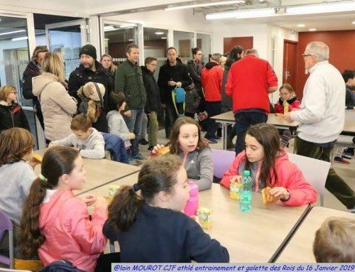 Ecole d'Athlé, entraînement et galette des rois, le 16 Janvier 2019