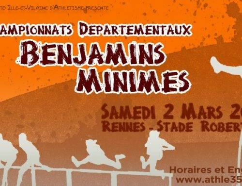 Championnats départementaux en salle BE-MI, Rennes le 2 Mars 2019